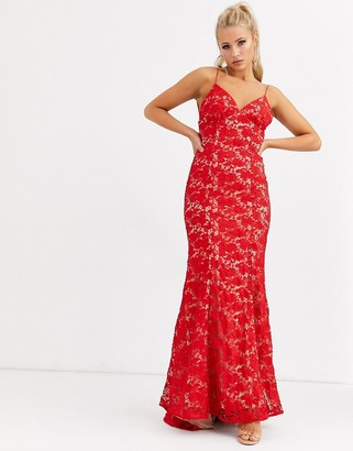 Jarlo cami strap lace dress with low back in red