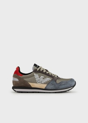 Emporio Armani Suede Leather Sneakers With Side Logo Detail