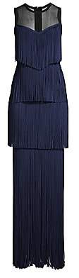 Herve Leger Women's Tiered Fringe Illusion Top Gown