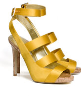 Cage-effect satin sandals