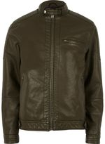 River Island Mens Green racer neck faux leather jacket