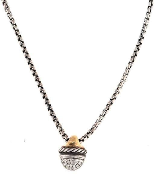David Yurman 18k Yellow Gold Sterling Silver and Diamond Pendant Necklace