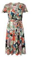 Dorothy Perkins Womens Oriental print fit and flare Dress- Red