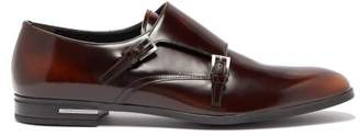 Prada Spazzalato Leather Monk Strap Shoes - Mens - Brown
