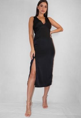 Missguided Black Satin Stretch Plunge Midaxi Dress