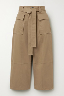 Jason Wu Cropped Cotton-twill Wide-leg Pants - Tan
