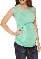 Asstd National Brand Planet Motherhood Maternity Sleeveless Lace-Yoke Tee