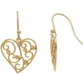 Primavera 24k Gold Over Silver Filigree Heart Drop Earrings