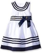 Bonnie Jean Big Girls Tween /Blue U-Neck Banded Border Nautical Resort Dress, R4-TG16-RST16,