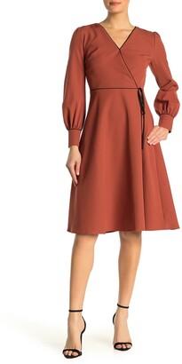 Alexia Admor Faux Wrap Long Sleeve Midi Dress