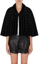 Saint Laurent Women's Crystal-Embellished Velvet Cape