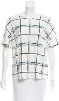 Tory Burch Plaid Print Linen T-Shirt