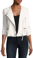 Joie Beline Leather Moto Jacket, White