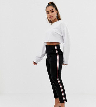 Asos DESIGN Petite cigarette pants in black with side stripe
