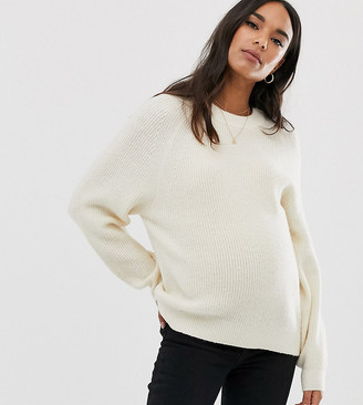 ASOS DESIGN Maternity fluffy sweater with balloon sleeve