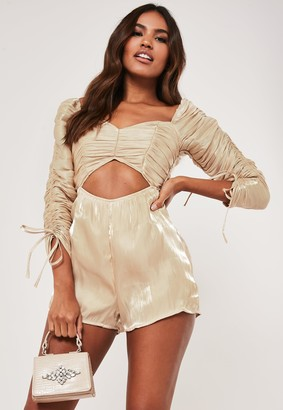 Missguided Cream Ruched Satin Milkmaid Playsuit