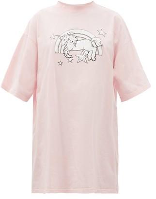 Vetements Magic Unicorn-print Cotton-jersey T-shirt - Light Pink