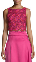Zac Posen Sleeveless Embroidered Lace Crop Top, Geranium