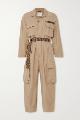 R 13 Abu Belted Cotton-canvas Jumpsuit - Beige