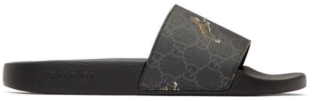 Gucci Black GG Supreme Pursuit Sandals