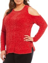 Gibson & Latimer Plus Chenille Cold Shoulder Sweater
