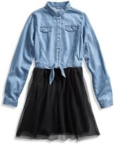 GUESS Long-Sleeve Two-Fer Denim Dress (7-)