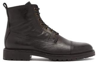 Belstaff Alperton Grained Leather Lace Up Boots - Mens - Black