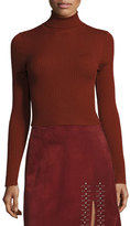 A.L.C. Elisa Cropped Ribbed Turtleneck Sweater, Copper