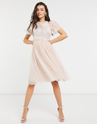 Needle & Thread embellished ruffle sleeve midi dress in blush