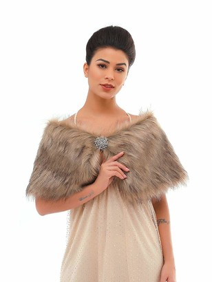 Unicra Women's Brown Faux Fur Shawls and Wraps Wedding Faux Fox Fur Stole Bridal Fur Scarf for Bride and Bridesmaids(Brown)