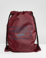 Vans League Bench Drawstring Backpack In Burgundy