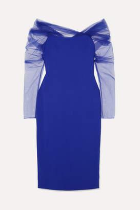 Cushnie Off-the-shoulder Tulle-trimmed Crepe Dress - Indigo