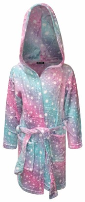 Live It Style It Kids Dressing Gown Childrens Soft Hooded Bathrobe for Boys Unicorn Gifts for Girls (7-8 Years