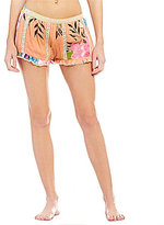Gianni Bini Floral Crochet Trim Short Cover Up