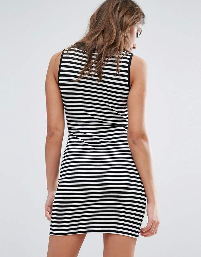 Daisy Street Striped Bodycon Dress With Crossover Front