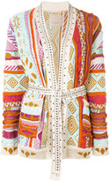 Laneus studded trim cardi-coat - women - Cotton/Aluminium/glass - 38