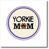 3dRose LLC ht_151839_3 InspirationzStore Pet designs - Yorkie Dog Mom - Yorkshire Terrier - Doggie mama by breed - doggy lover paw print - pet owner circle - Iron on Heat Transfers - 10x10 Iron on Heat Transfer for White Material
