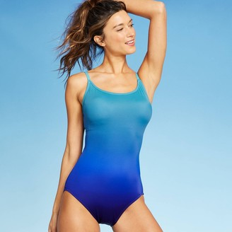 Women's Dip Dyed Strappy Back One Piece Swimsuit - Aqua Green®