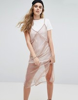 Pull&Bear 2 In 1 Cami Metallic Slip Dress
