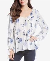 Karen Kane Floral-Print Tie-Sleeve Top