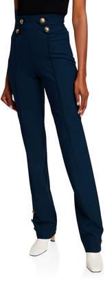 Oscar de la Renta Button-Finish Stretch Wool Straight-Leg Pants
