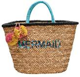 San Diego Hat Company Women's Seagrass Tote with Mermaid Embroidery BSB1729
