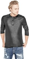 GUESS Men's Mason Faux-Leather Henley