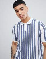 Asos Design Knitted Muscle Fit Polo With Vertical Stripe In Blue And White