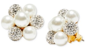 Kate Spade Gold-Tone Pave Fireball & Imitation Pearl Cluster Stud Earrings