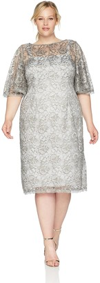 Adrianna Papell Women's Plus Size Short Metallic LACE Dress with Flared Sleeve