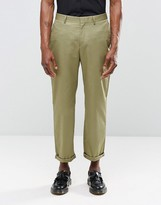 Religion Straight Leg Cropped Trousers In Khaki