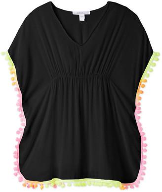Stella Cove Girl's Poncho Coverup w/ Neon Pompom Trim, Size 2-14