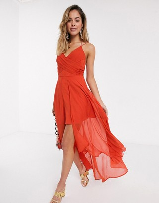 ASOS DESIGN wrap front maxi dress with dipped hem