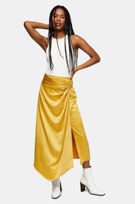 Topshop Womens Ochre Plain Satin Sarong Skirt - Ochre